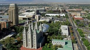 Blick auf den Temple Square und die City