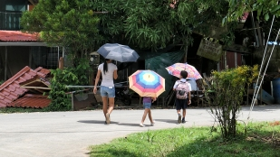Hier werden Schirme auch bei Sonne genutzt
