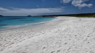 Schöner weißer Strand auf der Insel Española