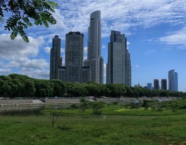 Blick vom Reserva zu den Wolkenkratzern